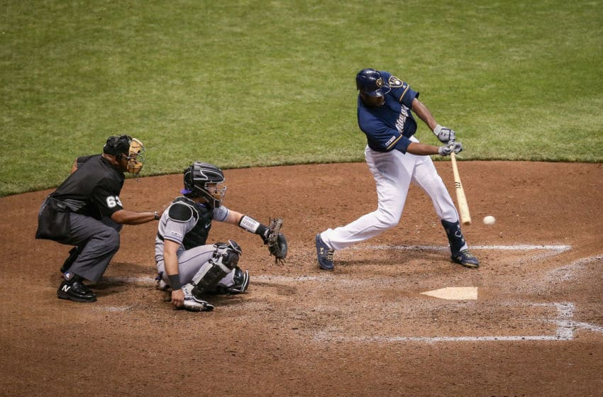 MILWAUKEE, WISCONSIN - MAY 01: Lorenzo Cain #6 of the Milwaukee Brewers grounds out in the sixth inning against the Colorado Rockies at Miller Park on May 01, 2019 in Milwaukee, Wisconsin. (Photo by Dylan Buell/Getty Images)