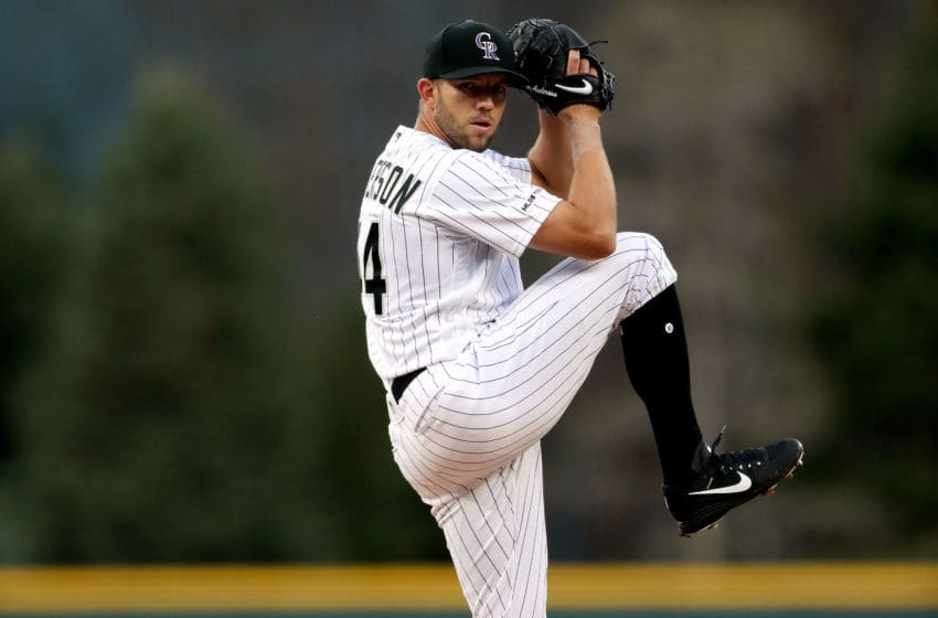 DENVER, COLORADO - MAY 03: Starting pitcher Tyler Anderson #44 of the Colorado Rockies throws in the first inning against the Arizona Diamondbacks at Coors Field on May 03, 2019 in Denver, Colorado. (Photo by Matthew Stockman/Getty Images)