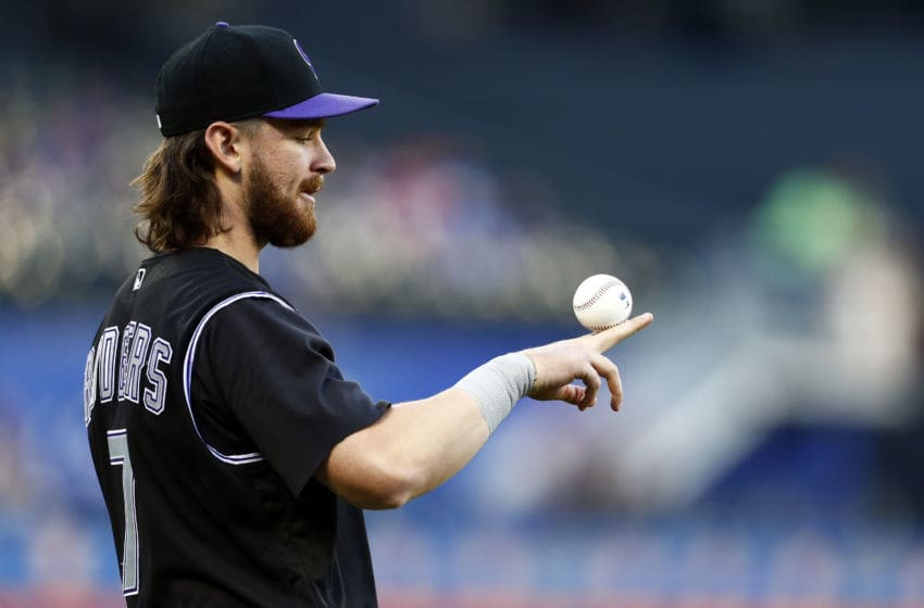 NEW YORK, NY - JUNE 8: Brendan Rodgers #7 of the Colorado Rockies balances a ball on his fingers prior to taking on the New York Mets at Citi Field on June 8, 2019 in the Flushing neighborhood of the Queens borough of New York City. (Photo by Adam Hunger/Getty Images)
