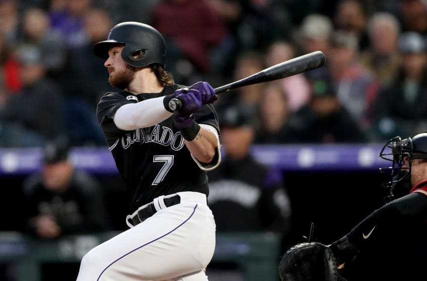 DENVER, COLORADO - MAY 29: Brendan Rodgers #7 of the Colorado Rockies hits a 2 RBI single in the fourth inning against the Arizona Diamondbacks at Coors Field on May 29, 2019 in Denver, Colorado. (Photo by Matthew Stockman/Getty Images)