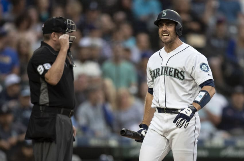 SEATTLE, WA - AUGUST 9: Tom Murphy #2 of the Seattle Mariners reacts after striking out during the second inning of a game against the Tampa Bay Rays at T-Mobile Park on August 9, 2019 in Seattle, Washington. (Photo by Stephen Brashear/Getty Images)