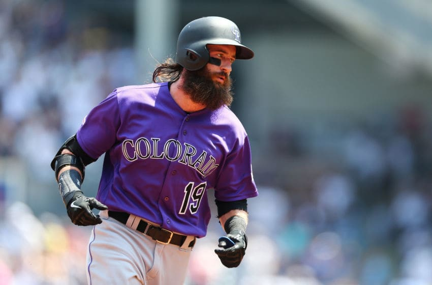 NEW YORK, NEW YORK - JULY 21: Charlie Blackmon #19 of the Colorado Rockies runs the bases after hitting a lead-off home run in the first inning against the New York Yankees at Yankee Stadium on July 21, 2019 in New York City. (Photo by Mike Stobe/Getty Images)