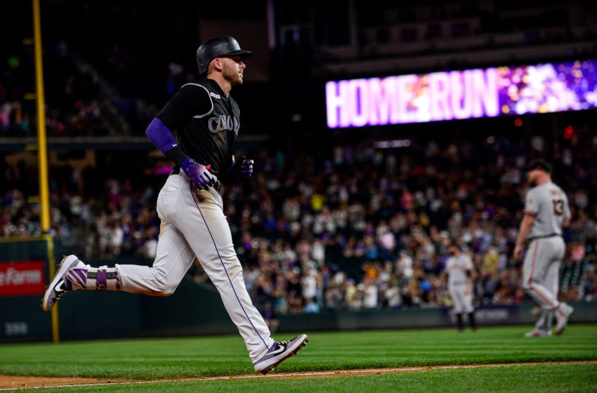 DENVER, CO - JULY 16: Trevor Story #27 of the Colorado Rockies rounds the bases after a ninth inning solo homer against the San Francisco Giants at Coors Field on July 16, 2019 in Denver, Colorado. (Photo by Dustin Bradford/Getty Images)