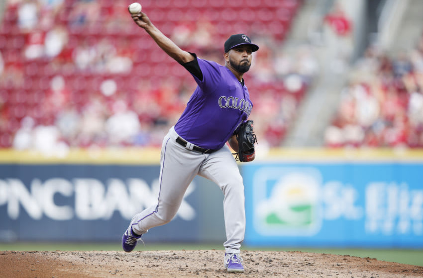 CINCINNATI, OH - JULY 26: German Marquez #48 of the Colorado Rockies pitches during a game against the Cincinnati Reds at Great American Ball Park on July 26, 2019 in Cincinnati, Ohio. The Rockies won 12-2. (Photo by Joe Robbins/Getty Images)