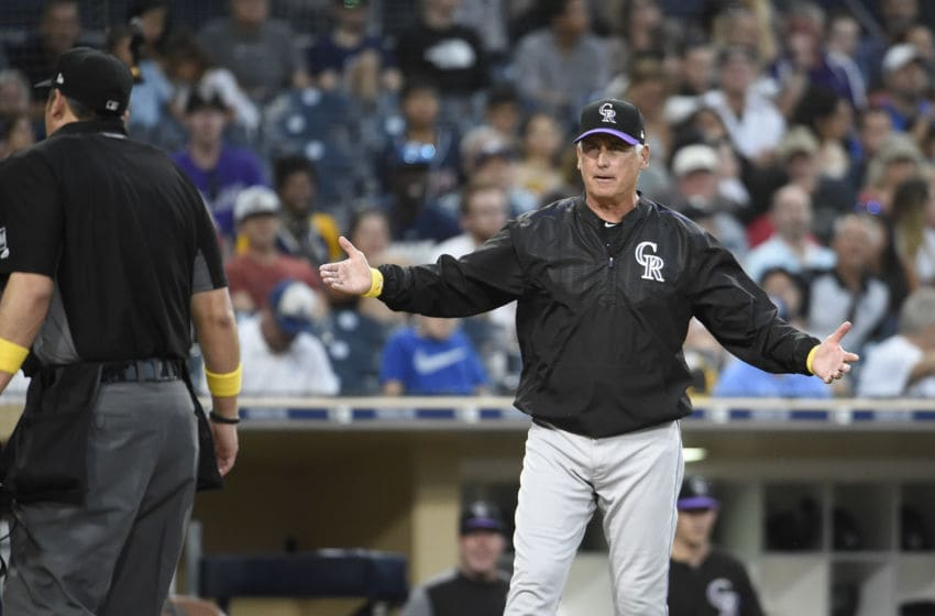 SAN DIEGO, CA - SEPTEMBER 7: Bud Black #10 of the Colorado Rockies argues a call with home plate umpire Mark Ripperger during the fifth inning of a baseball game against the San Diego Padres at Petco Park September 7, 2019 in San Diego, California. (Photo by Denis Poroy/Getty Images)