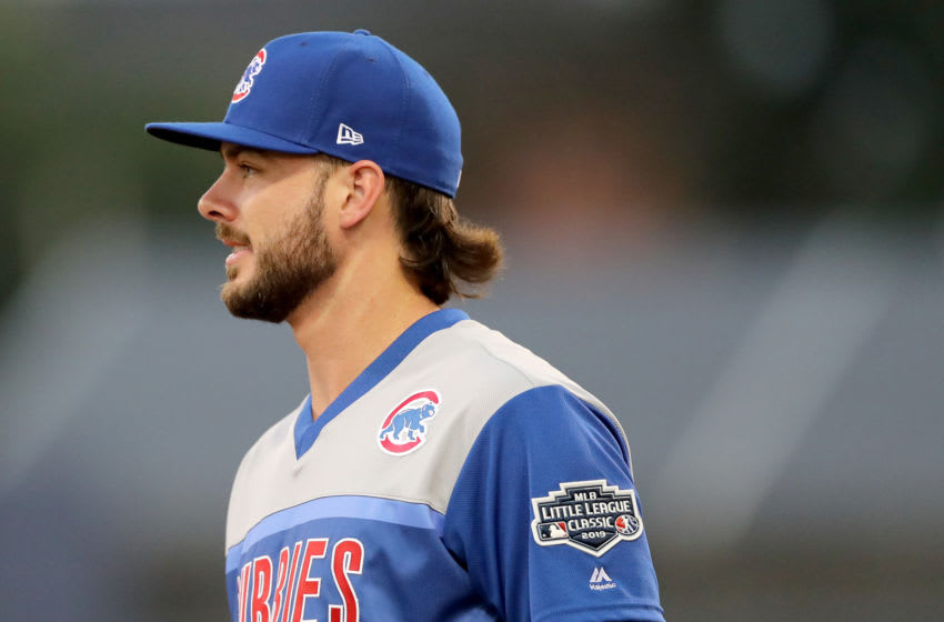 WILLIAMSPORT, PENNSYLVANIA - AUGUST 18: Kris Bryant #17 of the Chicago Cubs walks on the field in the second inning against the Pittsburgh Pirates during the MLB Little League Classic at Bowman Field on August 18, 2019 in Williamsport, Pennsylvania. (Photo by Elsa/Getty Images)