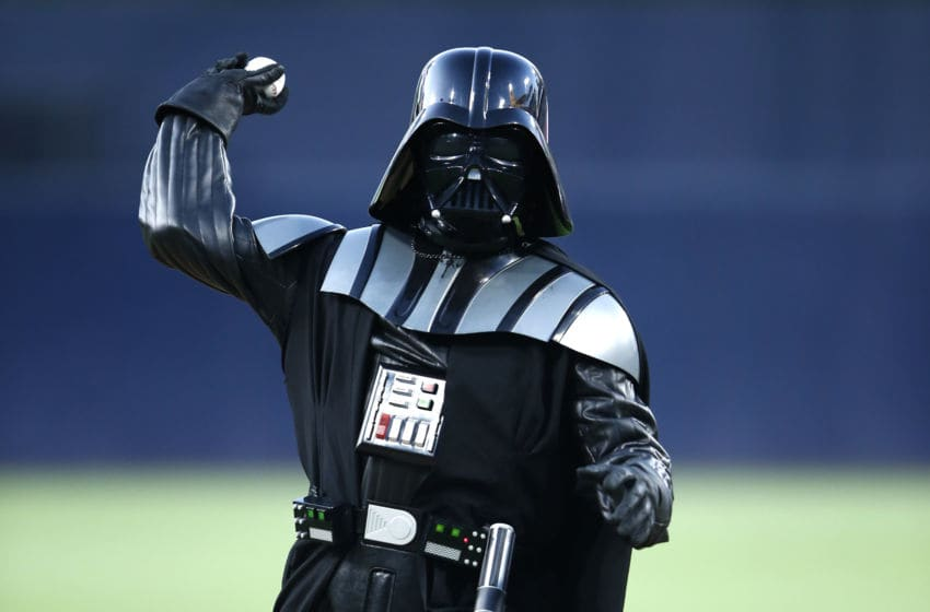 SAN DIEGO, CALIFORNIA - AUGUST 23: A Darth Vader character throws out the first pitch prior to a game between the San Diego Padres and the Boston Red Sox duat PETCO Park on August 23, 2019 in San Diego, California. (Photo by Sean M. Haffey/Getty Images)
