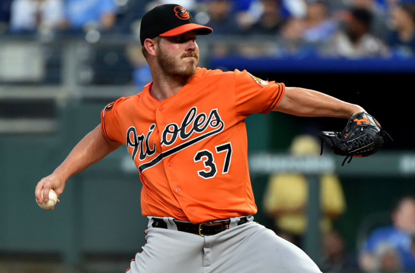 KANSAS CITY, MISSOURI - AUGUST 31: Starting pitcher Dylan Bundy #37 of the Baltimore Orioles throws in the third inning against the Kansas City Royals at Kauffman Stadium on August 31, 2019 in Kansas City, Missouri. (Photo by Ed Zurga/Getty Images)