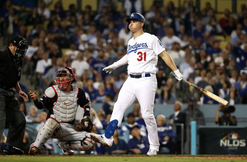 LOS ANGELES, CALIFORNIA - OCTOBER 09: Joc Pederson #31 of the Los Angeles Dodgers reacts to a foul ball in the fifth inning of game five of the National League Division Series against the Washington Nationals at Dodger Stadium on October 09, 2019 in Los Angeles, California. (Photo by Sean M. Haffey/Getty Images)
