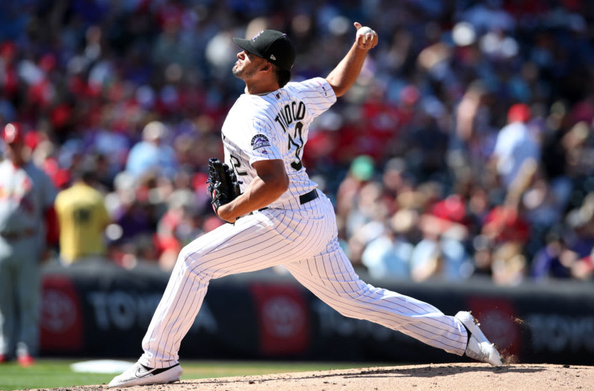 DENVER, CO - SEPTEMBER 12: Jesus Tinoco #32 of the Colorado Rockies pitches during the game against the St. Louis Cardinals at Coors Field on September 12, 2019 in Denver, Colorado. The Cardinals defeated the Rockies 10-3. (Photo by Rob Leiter/MLB Photos via Getty Images)