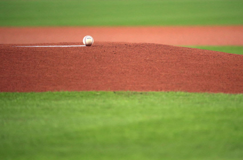 HOUSTON, TEXAS - OCTOBER 22: The game ball is left on the mound prior to Game One of the 2019 World Series between the Houston Astros and the Washington Nationals at Minute Maid Park on October 22, 2019 in Houston, Texas. (Photo by Mike Ehrmann/Getty Images)