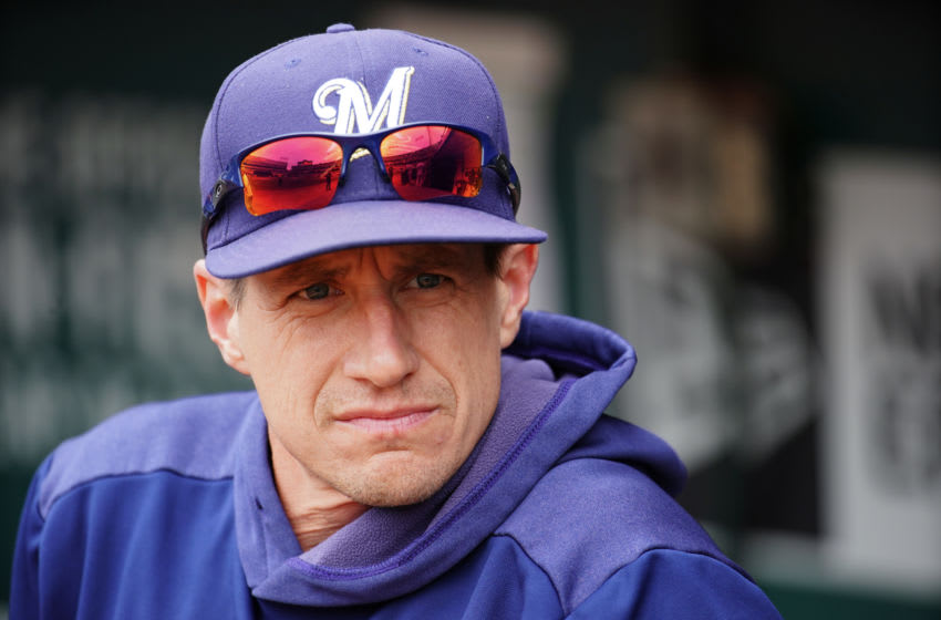 OAKLAND, CALIFORNIA - AUGUST 01: Manager Craig Counsell #30 of the Milwaukee Brewers looks on during the game against the Oakland Athletics at Ring Central Coliseum on August 01, 2019 in Oakland, California. (Photo by Daniel Shirey/Getty Images)
