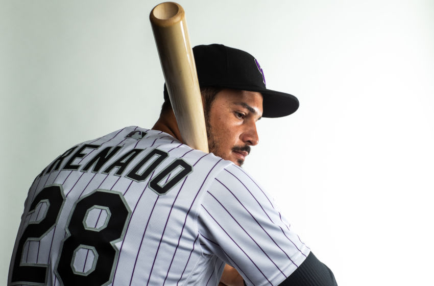 SCOTTSDALE, AZ - FEBRUARY 19: Nolan Arenado #28 of the Colorado Rockies poses for a portrait during Photo Day at the Colorado Rockies Spring Training Facility at Salt River Fields at Talking Stick on February 19, 2020 in Scottsdale, Arizona. (Photo by Rob Tringali/Getty Images)
