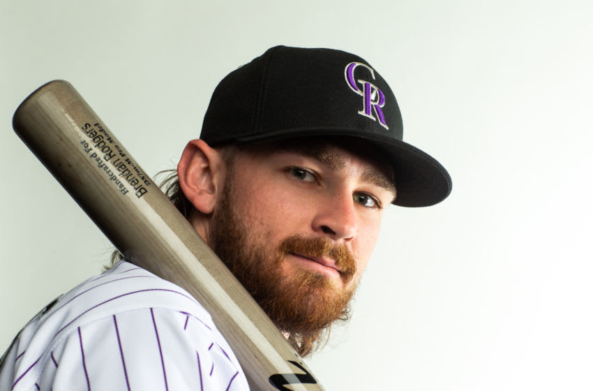 SCOTTSDALE, AZ - FEBRUARY 19: Brendan Rodgers #7 of the Colorado Rockies poses for a portrait at the Colorado Rockies Spring Training Facility at Salt River Fields at Talking Stick on February 19, 2020 in Scottsdale, Arizona. (Photo by Rob Tringali/Getty Images)