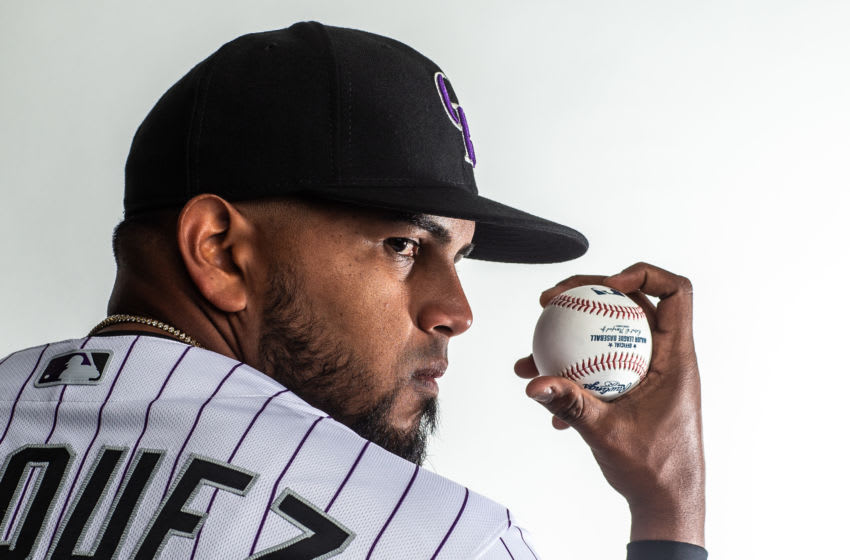 SCOTTSDALE, AZ - FEBRUARY 19: German Marquez #48 of the Colorado Rockies poses for a portrait at the Colorado Rockies Spring Training Facility at Salt River Fields at Talking Stick on February 19, 2020 in Scottsdale, Arizona. (Photo by Rob Tringali/Getty Images)
