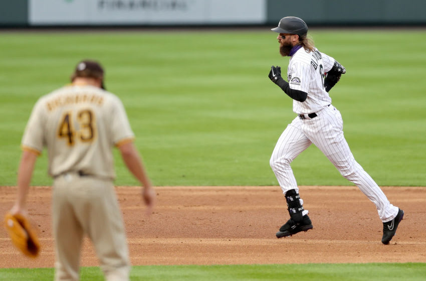 DENVER, COLORADO - JULY 31: Charlie Blackmon #19 of the Colorado Rockies circles the bases after hitting a 2 RBI home run against the San Diego Padres during the first inning at Coors Field on July 31, 2020 in Denver, Colorado. (Photo by Matthew Stockman/Getty Images)