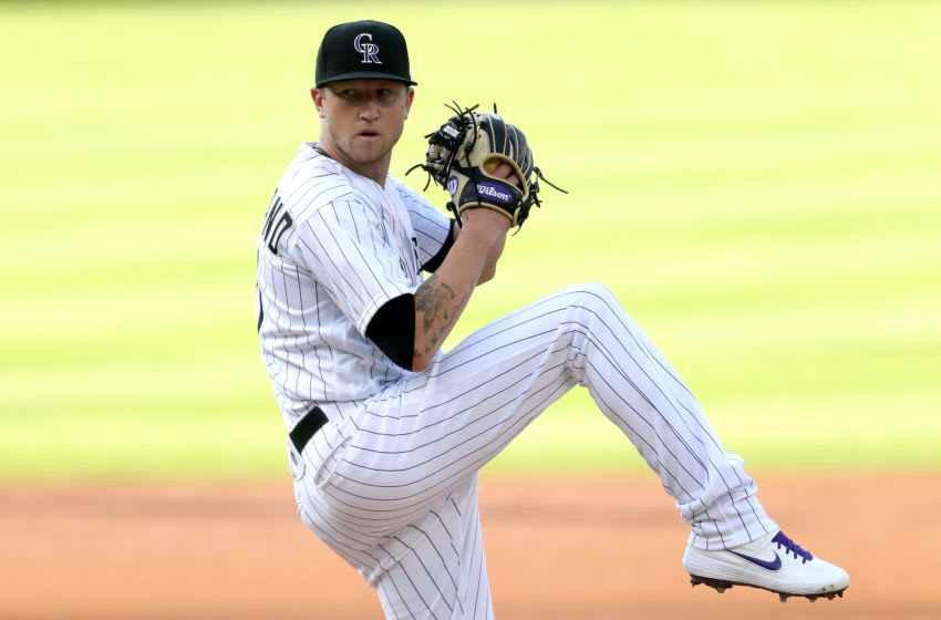 DENVER, COLORADO - AUGUST 01: Starting pitcher Kyle Freeland #21 of the Colorado Rockies throws in the first inning against the San Diego Padres at Coors Field on August 01, 2020 in Denver, Colorado. (Photo by Matthew Stockman/Getty Images)