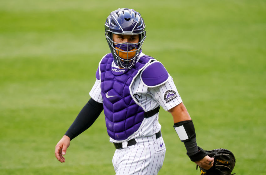 DENVER, CO - AUGUST 11: Tony Wolters #14 of the Colorado Rockies at Coors Field on August 11, 2020 in Denver, Colorado. (Photo by Justin Edmonds/Getty Images)