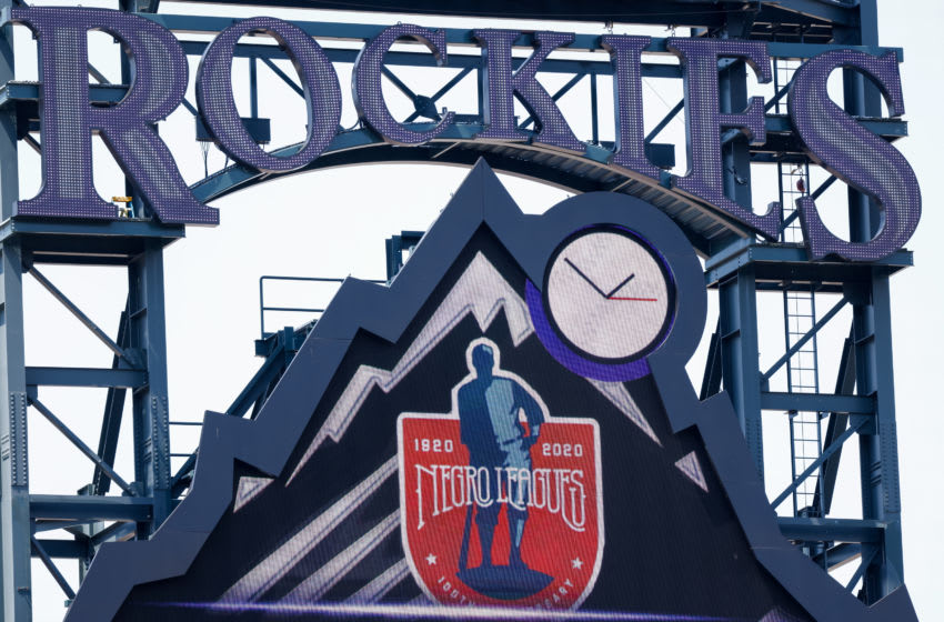 DENVER, CO - AUGUST 16: A detail of the scoreboard honoring the 100th anniversary of the Negro Leagues on display during a game between the Colorado Rockies and the Texas Rangers at Coors Field on August 16, 2020 in Denver, Colorado. (Photo by Justin Edmonds/Getty Images)