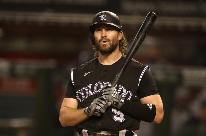 PHOENIX, ARIZONA - AUGUST 24: Daniel Murphy #9 of the Colorado Rockies reacts while batting against the Arizona Diamondbacks during the seventh inning of the MLB game at Chase Field on August 24, 2020 in Phoenix, Arizona. (Photo by Christian Petersen/Getty Images)