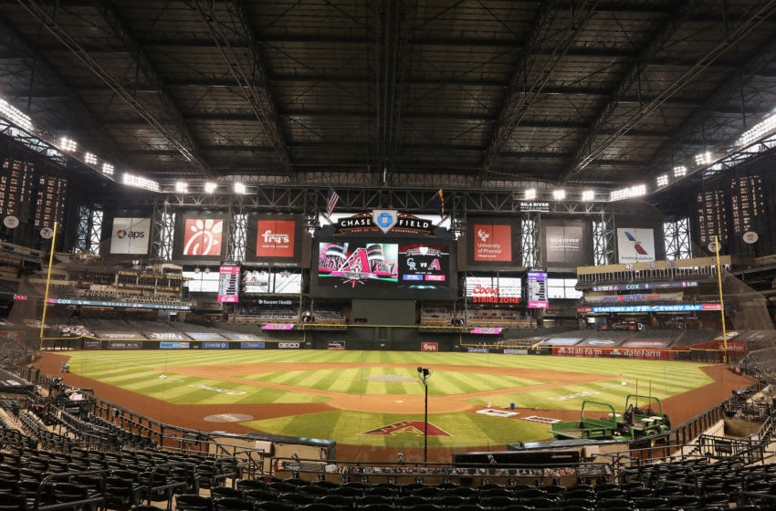 PHOENIX, ARIZONA - AUGUST 26: General view of Chase Field before the scheduled start of the MLB game between the Arizona Diamondbacks and the Colorado Rockies on August 26, 2020 in Phoenix, Arizona. (Photo by Christian Petersen/Getty Images)