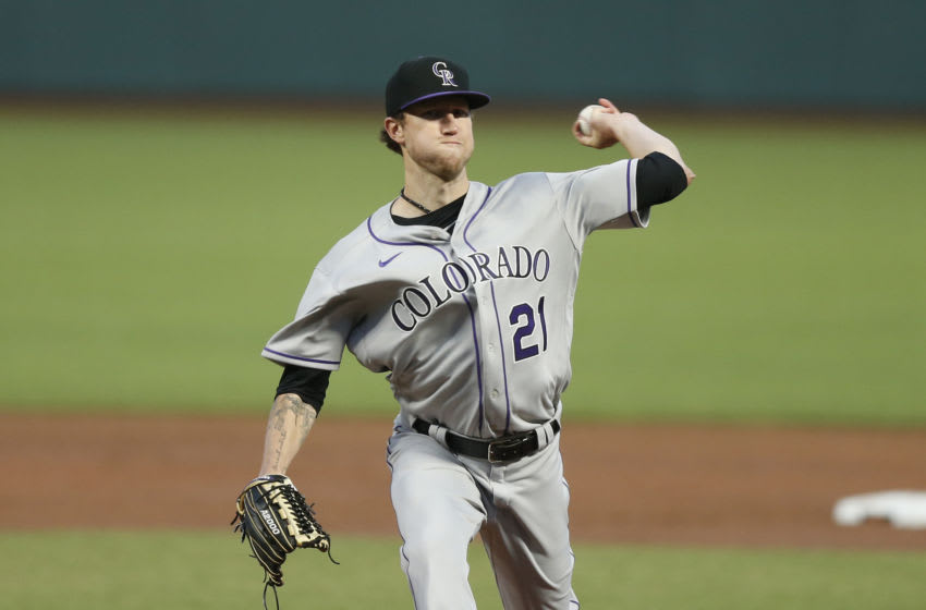 SAN FRANCISCO, CALIFORNIA - SEPTEMBER 22: Kyle Freeland #21 of the Colorado Rockies pitches in the bottom of the first inning against the San Francisco Giants at Oracle Park on September 22, 2020 in San Francisco, California. (Photo by Lachlan Cunningham/Getty Images)