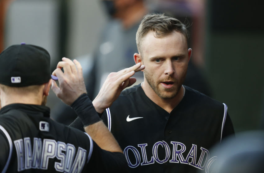 SAN FRANCISCO, CALIFORNIA - SEPTEMBER 23: Trevor Story #27 of the Colorado Rockies looks on before the game against the San Francisco Giants at Oracle Park on September 23, 2020 in San Francisco, California. (Photo by Lachlan Cunningham/Getty Images)