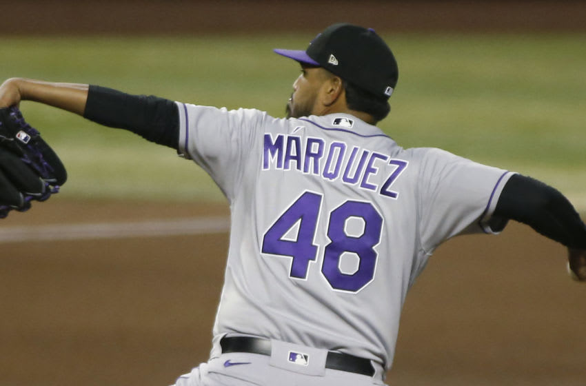 PHOENIX, ARIZONA - SEPTEMBER 26: Starting pitcher German Marquez #48 of the Colorado Rockies throws a pitch against the Arizona Diamondbacks during the seventh inning of the MLB game at Chase Field on September 26, 2020 in Phoenix, Arizona. (Photo by Ralph Freso/Getty Images)