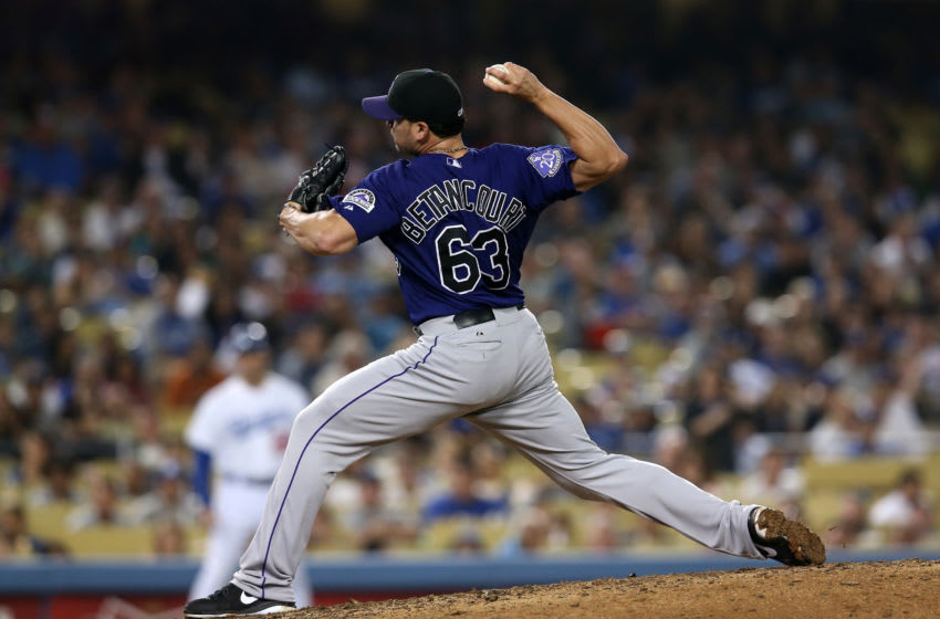 LOS ANGELES, CA - JULY 12: Closer Rafael Betancourt #63 of the Colorado Rockies throws a pitch in the ninth inning against the Los Angeles Dodgers at Dodger Stadium on July 12, 2013 in Los Angeles, California. (Photo by Stephen Dunn/Getty Images)