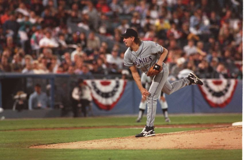 6 Oct 1995: Pitcher Bret Saberhagen of the Colorado Rockies follows through on his release after delivering a pitch during the Rockies 7-5 loss to the Atlanta Braves in the National League Championship Series at Fulton County Stadium in Atlanta, Georgia.