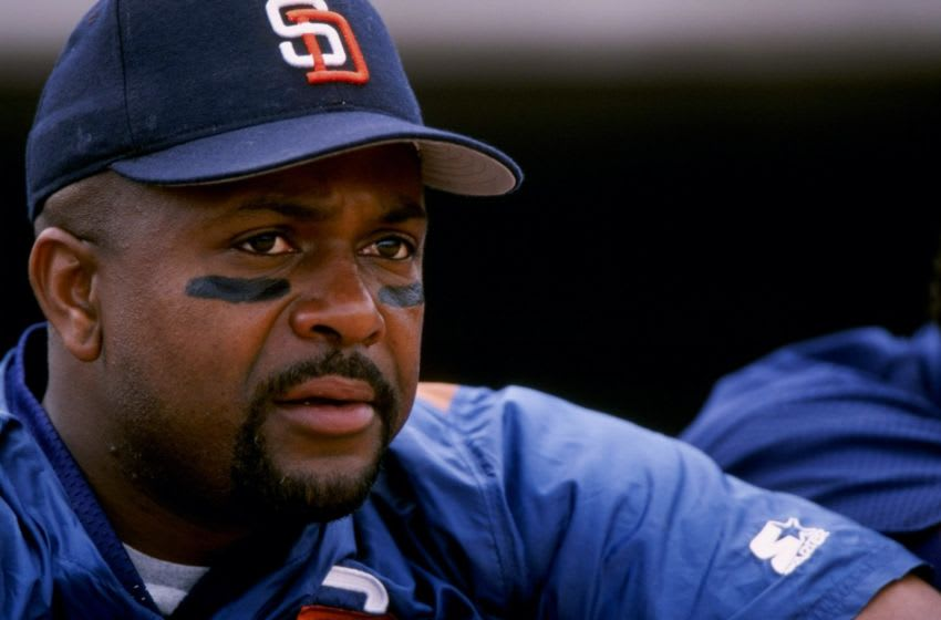 6 Mar 1998: Greg Vaughn #23 of the San Diego Padres looks on during a spring training game against the Colorado Rockies at Peoria Sports Complex in Peoria, Arizona. The Rockies defeated the Padres 5-3. Mandatory Credit: Todd Warshaw /Allsport