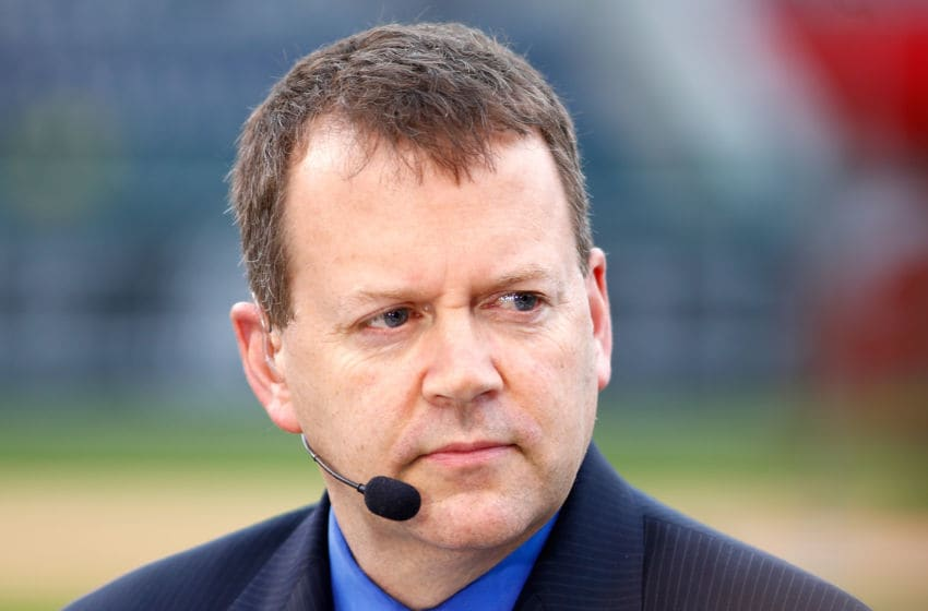 KANSAS CITY, MO - OCTOBER 26: Buster Olney of ESPN speaks on set the day before Game 1 of the 2015 World Series between the Royals and Mets at Kauffman Stadium on October 26, 2015 in Kansas City, Missouri. (Photo by Maxx Wolfson/Getty Images)