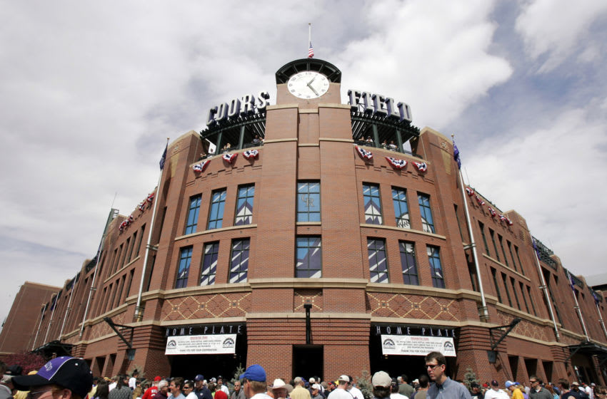 DENVER - APRIL 4: Fans pour into Coors Field for opening day for a game between the San Diego Padres and the Colorado Rockies on April 4, 2005 in Denver, Colorado. (Photo by Brian Bahr/Getty Images)