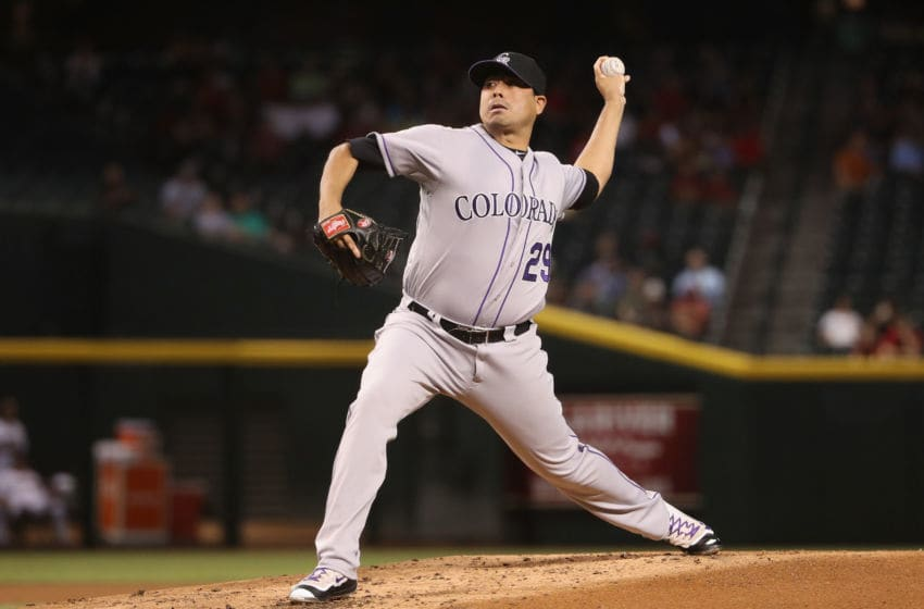 PHOENIX, AZ - SEPTEMBER 13: Starting pitcher Jorge De La Rosa #29 of the Colorado Rockies pitches against the Arizona Diamondbacks during the first inning of the MLB game at Chase Field on September 13, 2016 in Phoenix, Arizona. (Photo by Christian Petersen/Getty Images)