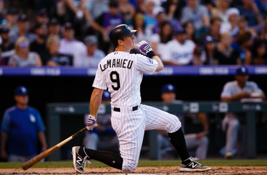 DENVER, CO - JUNE 1: DJ LeMahieu #9 of the Colorado Rockies watches his RBI single during the second inning against the Los Angeles Dodgers at Coors Field on June 1, 2018 in Denver, Colorado. (Photo by Justin Edmonds/Getty Images)