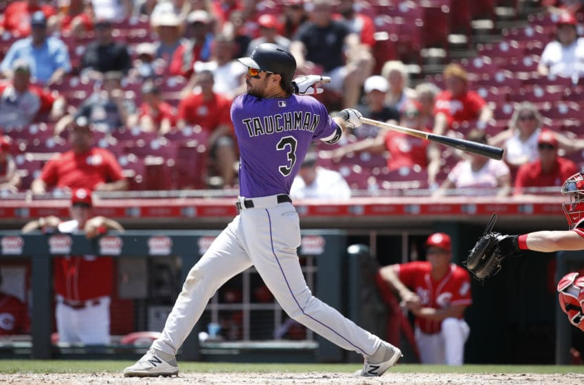 CINCINNATI, OH - JUNE 07: Mike Tauchman #3 of the Colorado Rockies bats during a game against the Cincinnati Reds at Great American Ball Park on June 7, 2018 in Cincinnati, Ohio. The Reds won 7-5 in 13 innings. (Photo by Joe Robbins/Getty Images)