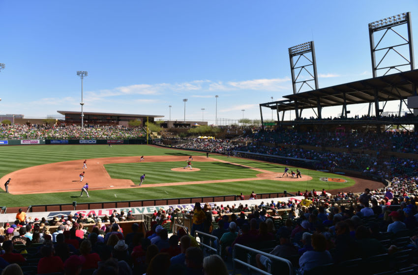 SCOTTSDALE, AZ - FEBRUARY 25: Archie Bradley #25 of the Arizona Diamondbacks delivers a pitch during the fourth inning of the spring training game against the Colorado Rockies at Salt River Fields at Talking Stick on February 25, 2017 in Scottsdale, Arizona. (Photo by Jennifer Stewart/Getty Images)