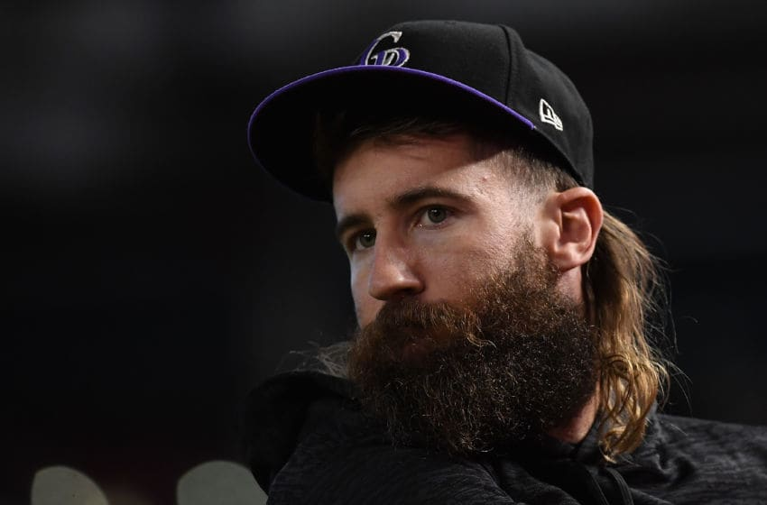 PHOENIX, AZ - OCTOBER 04: Charlie Blackmon #19 of the Colorado Rockies warms up during batting practice before the National League Wild Card game against the Arizona Diamondbacks at Chase Field on October 4, 2017 in Phoenix, Arizona. (Photo by Norm Hall/Getty Images)