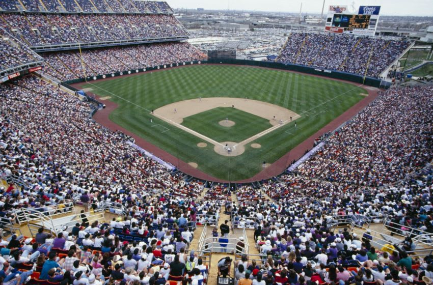 DENVER - APRIL 11: A general view of Mile High Stadium during the MLB game between the Montreal Expos and the Colorado Rockies on April 11, 1993 in Denver, Colorado. (Photo by Tim DeFrisco/Getty Images)