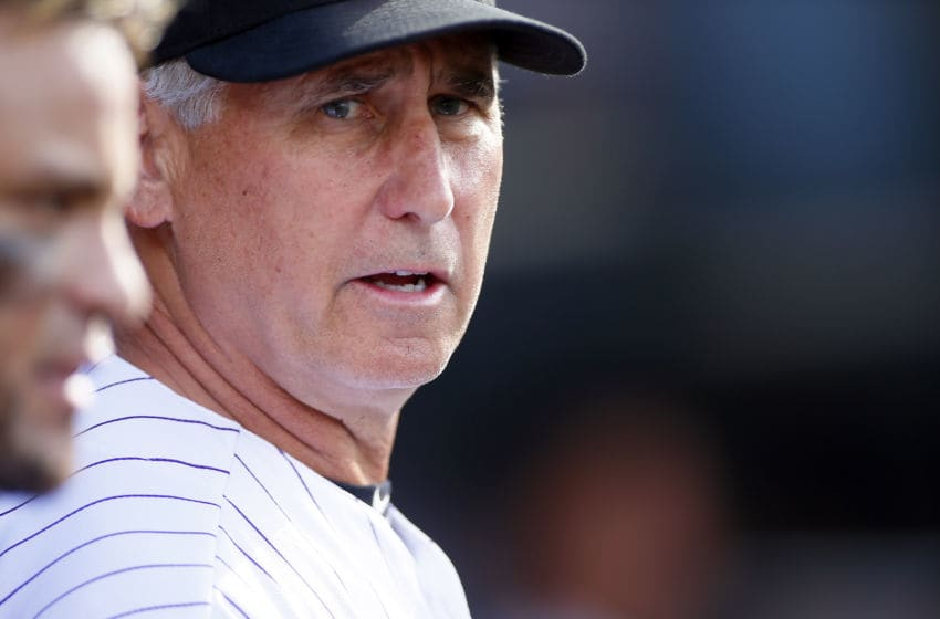 DENVER, CO - SEPTEMBER 17: Bud Black #10 of the Colorado Rockies during a regular season MLB game between the Colorado Rockies and the visiting San Diego Padres at Coors Field on September 17, 2017 in Denver, Colorado. (Photo by Russell Lansford/Getty Images)