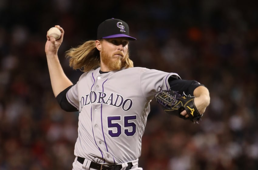 PHOENIX, AZ - MARCH 29: Starting pitcher Jon Gray #55 of the Colorado Rockies pitches against the Arizona Diamondbacks during the fourth inning of the opening day MLB game at Chase Field on March 29, 2018 in Phoenix, Arizona. (Photo by Christian Petersen/Getty Images)