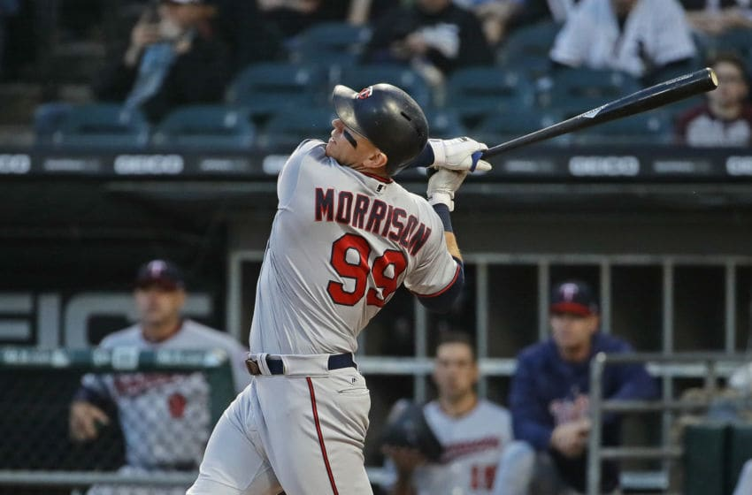 CHICAGO, IL - MAY 04: Logan Morrison #99 of the Minnesota Twins bats against the Chicago White Sox at Guaranteed Rate Field on May 4, 2018 in Chicago, Illinois. The Twins defeated the White Sox 6-4. (Photo by Jonathan Daniel/Getty Images)