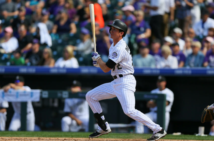 DENVER, CO - OCTOBER 2: Jordan Patterson #72 of the Colorado Rockies watches his RBI double during the fifth inning against the Milwaukee Brewers at Coors Field on October 2, 2016 in Denver, Colorado. (Photo by Justin Edmonds/Getty Images)