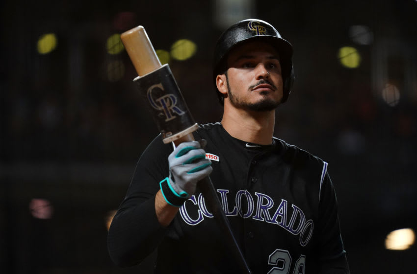 SAN FRANCISCO, CALIFORNIA - SEPTEMBER 24: Nolan Arenado #28 of the Colorado Rockies waits to bat during the game against the San Francisco Giants at Oracle Park on September 24, 2019 in San Francisco, California. (Photo by Daniel Shirey/Getty Images)
