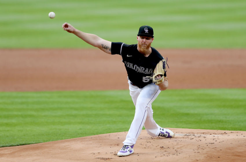 DENVER, COLORADO - AUGUST 05: Starting pitcher Jon Gray #55 of the Colorado Rockies throws in the first inning against the San Francisco Giants at Coors Field on August 05, 2020 in Denver, Colorado. (Photo by Matthew Stockman/Getty Images)