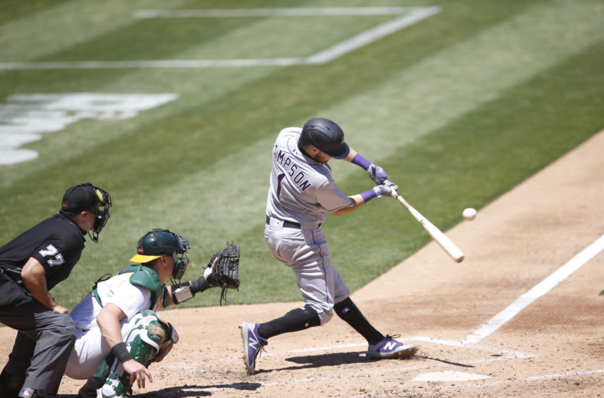 OAKLAND, CA - JULY 29: Garrett Hampson #1 of the Colorado Rockies bats during the game against the Oakland Athletics at RingCentral Coliseum on July 29, 2020 in Oakland, California. The Rockies defeated the Athletics 5-1. (Photo by Michael Zagaris/Oakland Athletics/Getty Images)
