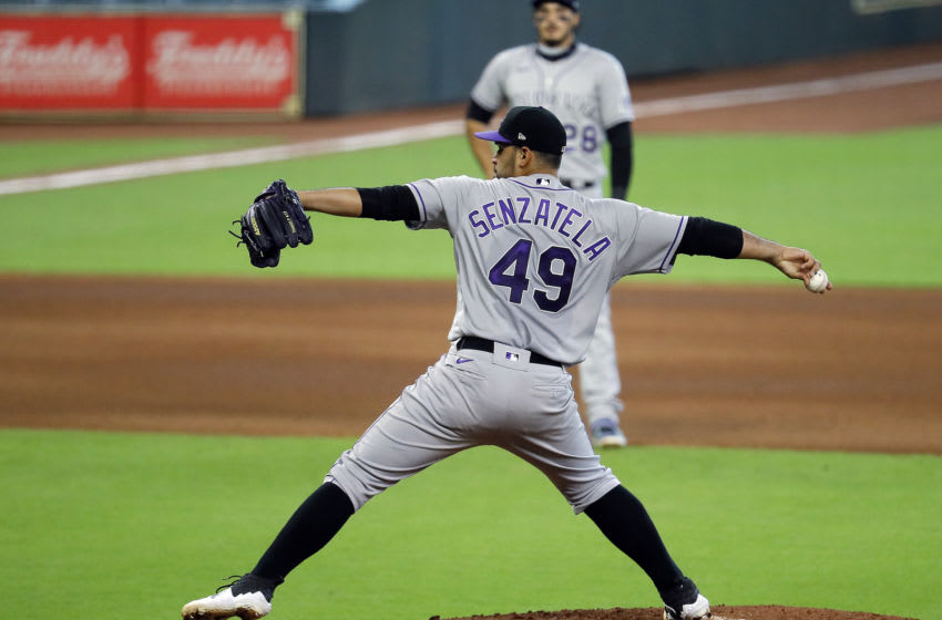 HOUSTON, TEXAS - AUGUST 18: Antonio Senzatela #49 of the Colorado Rockies pitches against the Houston Astros at Minute Maid Park on August 18, 2020 in Houston, Texas. (Photo by Bob Levey/Getty Images)