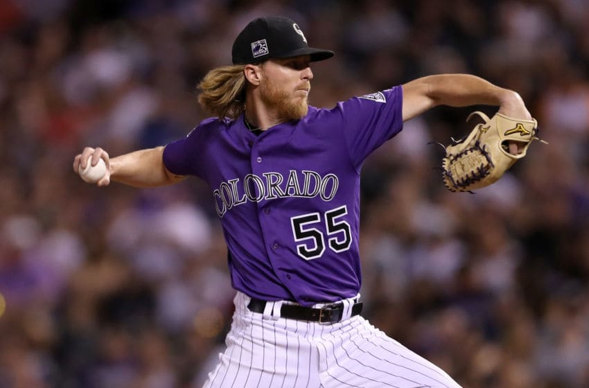 DENVER, CO - SEPTEMBER 12: Starting pitcher Jon Gray #55 of the Colorado Rockies throws in the third inning against the Arizona Diamondbacks at Coors Field on September 12, 2018 in Denver, Colorado. (Photo by Matthew Stockman/Getty Images)