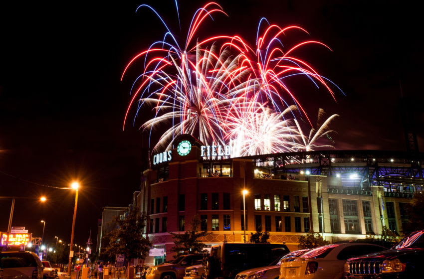 DENVER, CO - JULY 4: Fireworks explode over Coors Field after a game between the Colorado Rockies and the Los Angeles Dodgers at Coors Field on July 4, 2013 in Denver, Colorado. The Rockies beat the Dodgers 9-5. (Photo by Dustin Bradford/Getty Images)