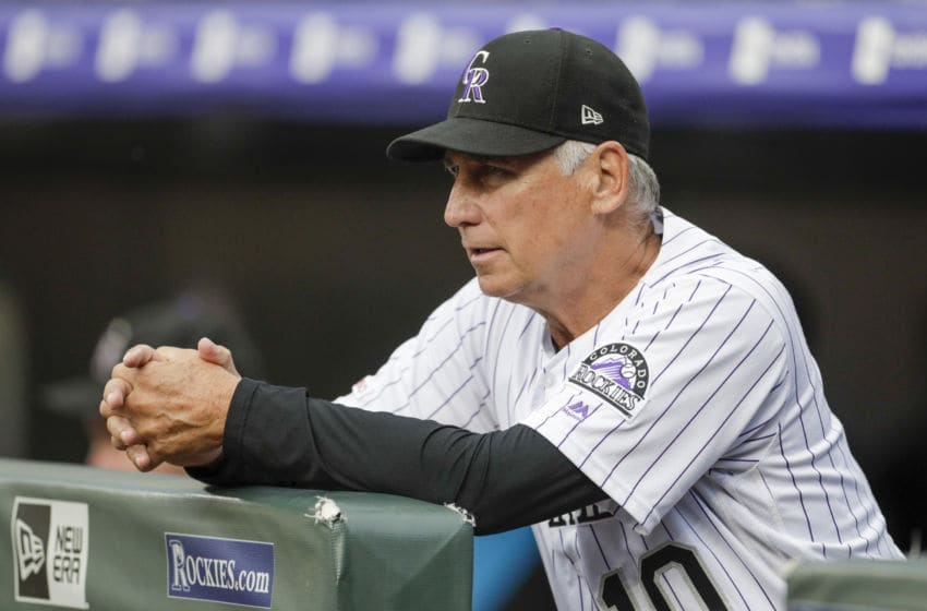 DENVER, CO - AUGUST 30: Manager Bud Black #10 of the Colorado Rockies watches his team against the Pittsburgh Pirates at Coors Field on August 30, 2019 in Denver, Colorado. (Photo by Joe Mahoney/Getty Images)